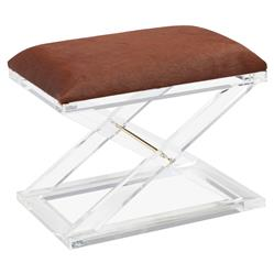 Isla Modern X Acrylic Brown Hide Stool
