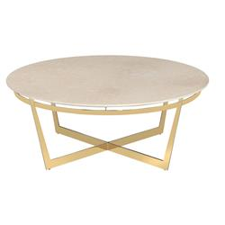 Palladio Modern Antique Brass Cylinder Drum Coffee Table Kathy Kuo Home