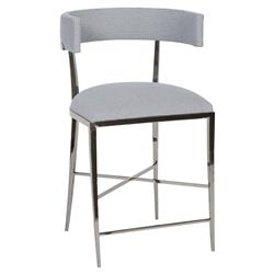 Neo Classic Rounded Silver Navy Pattern Counter Stool