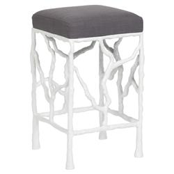 Vanguard Piers White Branch Grey Flannel Counter Stool