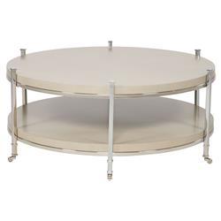 Vanguard Gibson French Grey Beige Round Steel Coffee Table