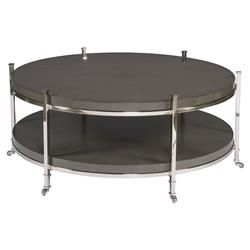 Barring Modern Charcoal Grey Round Steel Coffee Table