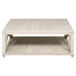 Vanguard Elis Coastal Beach Washed Wood Square Coffee Table