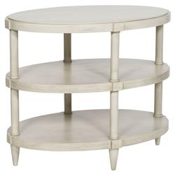 Vanguard Anna Coastal Rustic Wood Oval End Table