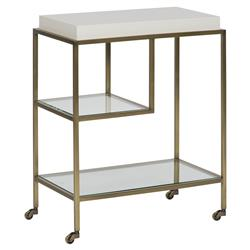 Michael Weiss Theo White Lacquer Brushed Brass Rolling End Table