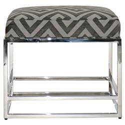 Michael Weiss Larkin Modern Polished Steel Grey Graphic Footstool