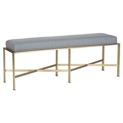 Michael Weiss Penley Regency Blue Patterned Angular Brass Bench