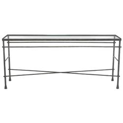 Rand Industrial Loft Pewter Grey Glass Console Table
