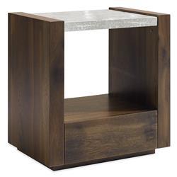Caracole Best In Glass In Dark Oak Finish Modern Bubbled Glass Oak Nightstand