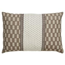 Miska Oatmeal Global Stitched Linen Geometric Pillow - 16x24