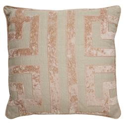 Stassi Regency Graphic Rose Velvet Beige Linen Pillow - 22x22