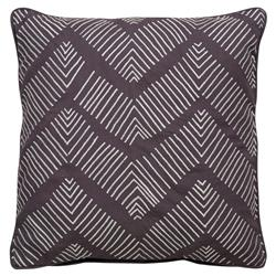 Etro Global Zig Zig Embroidered Plum Brown Pillow - 18x18