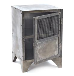 Vintage industrial steel shoe locker end table kathy kuo home - Table de chevet couleur taupe ...
