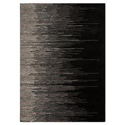 Hector Modern Faded Line Black Wool Rug - 2' x 3'