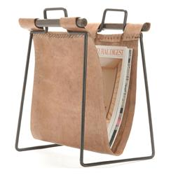 Iron and Leather Rustic Lodge Magazine Rack | 9599