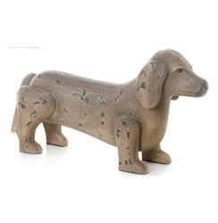 Antique Hand Painted Wood Dachshund Dog Sculpture
