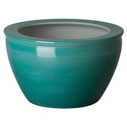 Calma Coastal Peacock Blue Linear Round Ceramic Planter