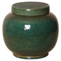 Jaego Bazaar Glazed Forest Green Ceramic Ginger Jar - 11H