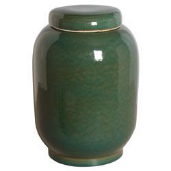 Jaego Bazaar Glazed Forest Green Ceramic Ginger Jar - 16H