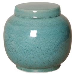 Jaego Bazaar Glazed Forest Green Ceramic Ginger Jar - 11H