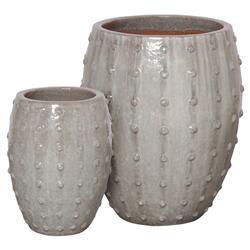 Otis Global Dotted Stud Grey Ceramic Planters - Set of 2