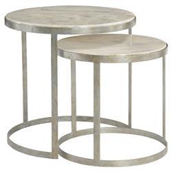 Kendri Regency Round Matte Silver Marble Nesting Tables