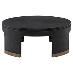 Constanta Regency Black Raffia Round Gold Coffee Table