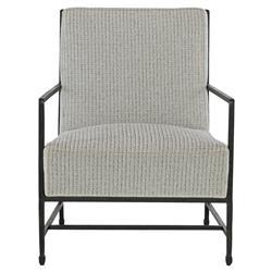 Zelena Industrial Black Iron Grey Tweed Occasional Arm Chair
