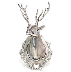 Polished Silver Contemporary Stag Head Wall Sculpture