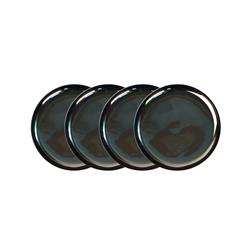 Dauville Charcoal Silver Ceramic Coasters - Set of 4
