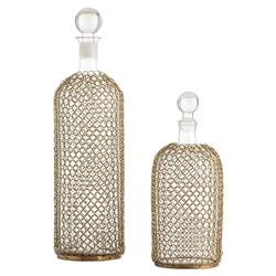 Alix Regency Brass Chain Clear Glass Decanters - Set of 2