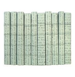 Linear Foot Vintage Hand Made Sky Blue Script Decorative Books | M38LF