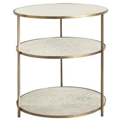Arteriors Percy Antique Mirrored 3 Tier Brass Side Table