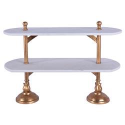 Du Pan Boulanger Double Platform Brass Marble Tray