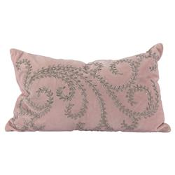 Merkle Regency Rose Pink Velvet Silver Metal Pillow - 14x24