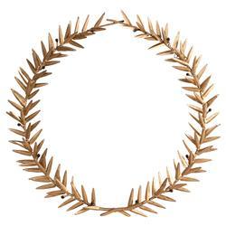 Aesop Gold Leaf Round Metal Wreath Wall Sculpture