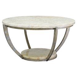 Palecek Brandt Regency Curved Iron Natural Marble Coffee Table