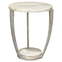 Palecek Brandt Regency Curved Iron Natural Marble End Table