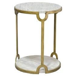 Palecek Athena Regency Marble Round Key Gold Iron End Table