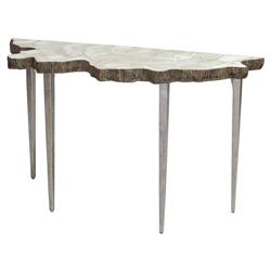 Palecek Fossilized Coastal Fossilized Clam Organic Iron Console Table