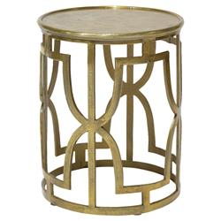Menetti Global Bazaar Metallic Gold Round End Table