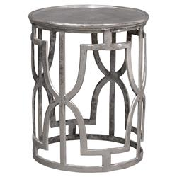 Great Menetti Global Bazaar Metallic Silver Round End Table