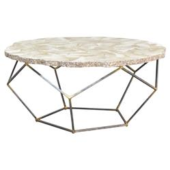 Palecek Loren Coastal Inlaid Clam Shell Gold Iron Round Coffee Table