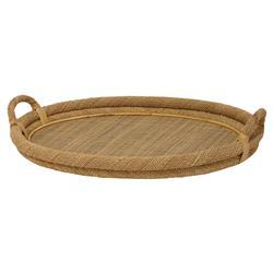 Palecek Oval Coastal Bazaar Woven Rope Rattan Oval Tray
