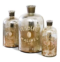 Set of 3- Malines Golden Mercury Glass French Antique Bottles | 215014