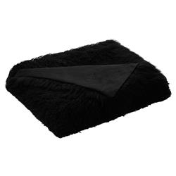 Devi Bazaar Tibetan Wool Textured Black Throw Blanket