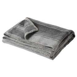 Striped Grey Alpaca Wool Crochet Edge Throw Blanket