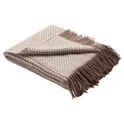Dauby Linen Wool Ivory Brown Herringbone Blanket