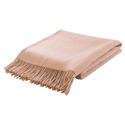 Lennon Basket Weave Wool Camel Throw Blanket - Beige