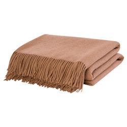 Lennon Basket Weave Wool Camel Throw Blanket - Brown